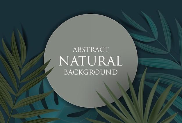 Fundo natural abstrato com palmeira tropical e folhas de monstera
