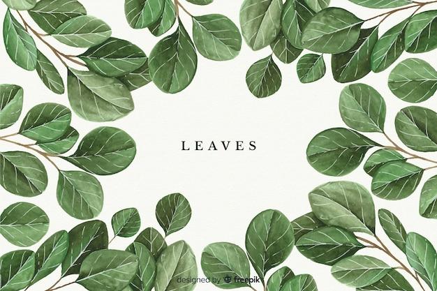 Fundo natural aquarela com folhas