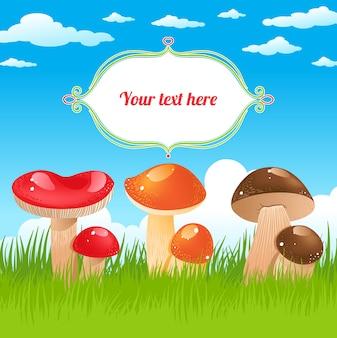Fundo natural com cogumelos coloridos, grama verde e céu azul e uma moldura para texto