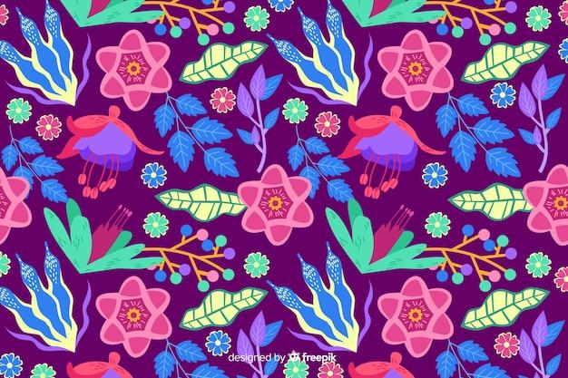 Fundo natural com floral exótico colorido