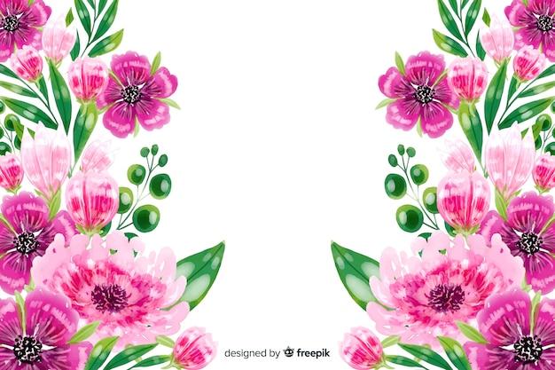Fundo natural com flores coloridas em aquarela