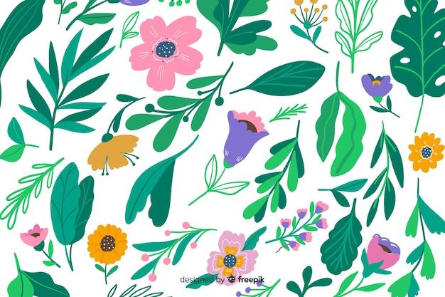 Fundo natural com flores coloridas