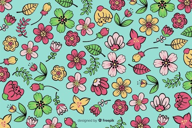 Fundo natural com flores desenhadas a mão