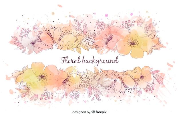 Fundo natural com flores em aquarela