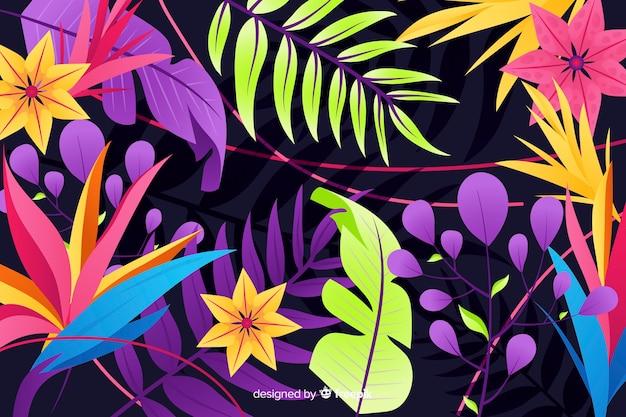 Fundo natural com flores exóticas coloridas
