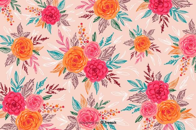 Fundo natural com flores pintadas coloridas
