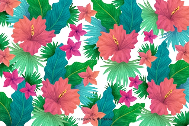 Fundo natural com flores tropicais