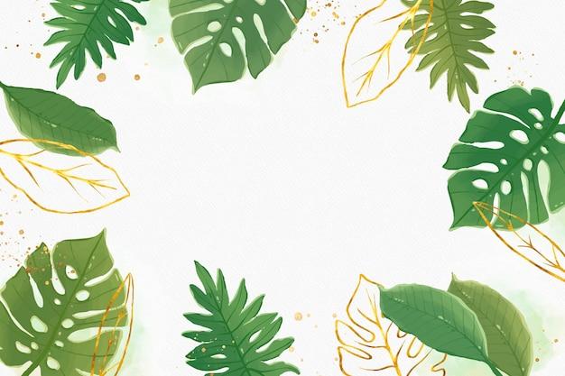 Fundo natural com folha dourada