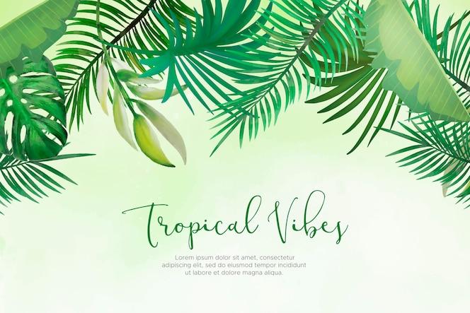 Fundo natural com folhas tropicais pintados à mão