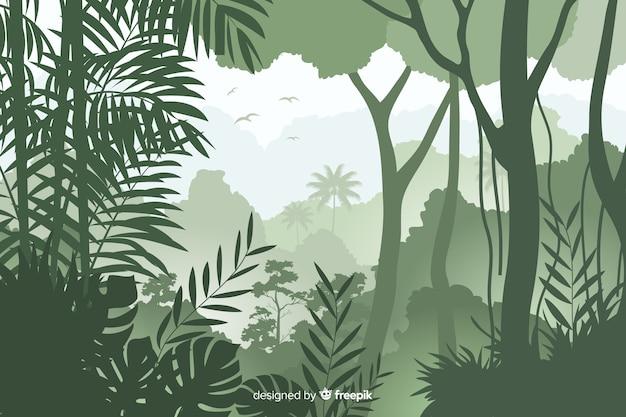 Fundo natural com paisagem de floresta tropical