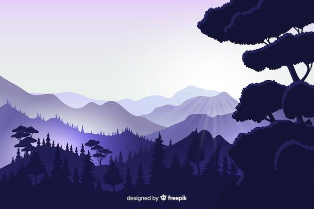 Fundo natural com paisagem de montanhas