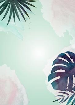 Fundo natural com palmeira tropical e folhas de monstera