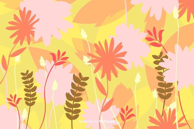 Fundo natural com silhuetas florais coloridas