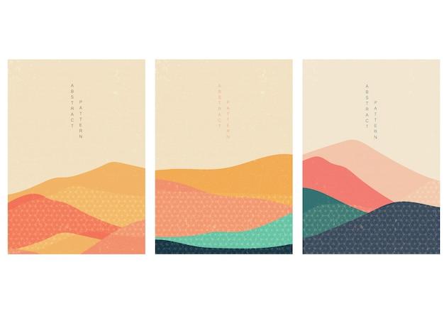 Fundo natural da paisagem com vetor do estilo japonês.