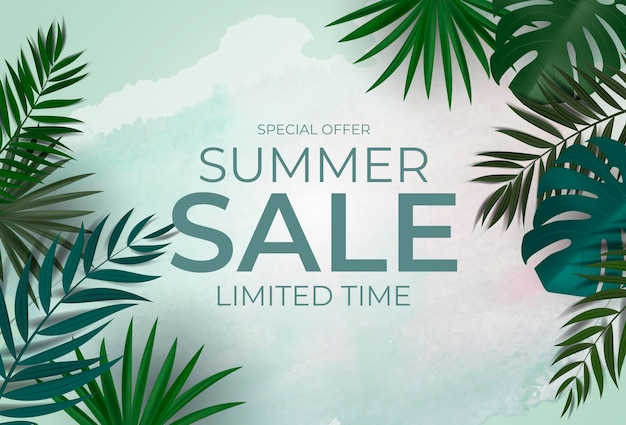 Fundo natural de venda de verão com eucalipto de palmeira tropical e folhas de monstera