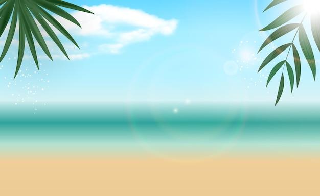 Fundo natural do mar com palmeiras