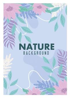 Fundo, natureza tropical deixa com flores de cor pastel