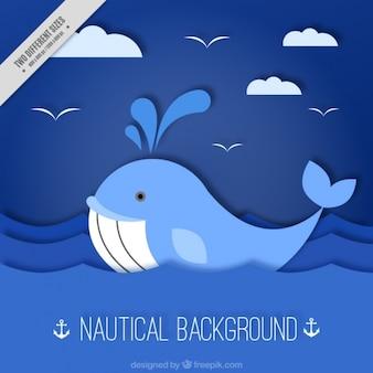 Fundo náutico azul com baleia