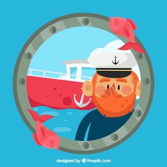 Fundo náutico com capitão e barco