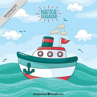 Fundo náutico com o navio e as ondas