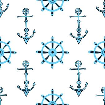 Fundo náutico sem costura com âncoras e leme de navio. padrão sem costura desenhado à mão.