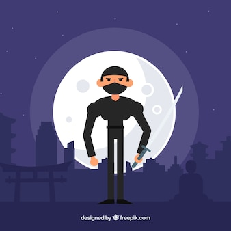 Fundo ninja à noite