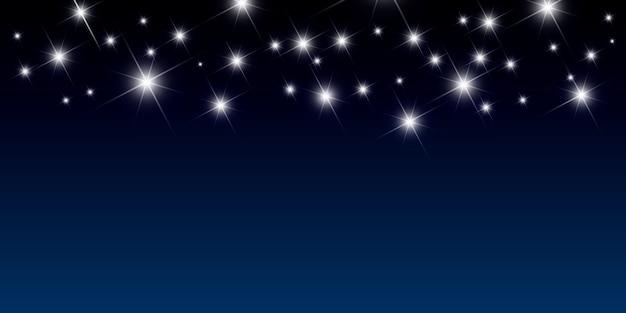 Fundo noturno com ilustração vetorial de estrelas brilhantes