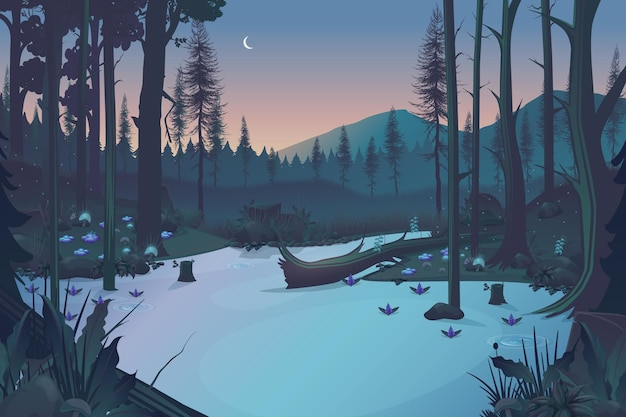 Fundo noturno da floresta de fadas com lago e montanhas