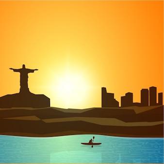 Fundo o brasil com canoísta
