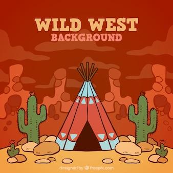 Fundo oeste selvagem colorido com tenda e cactus