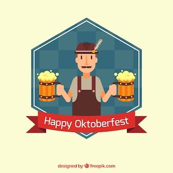 Fundo oktoberfest do homem vestindo roupas tradicionais e cerveja