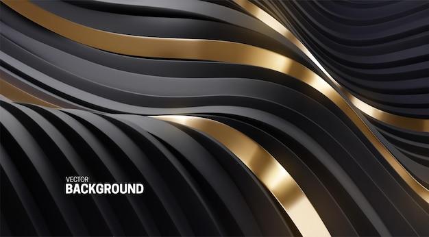 Fundo ondulado abstrato com listras curvas 3d pretas e douradas