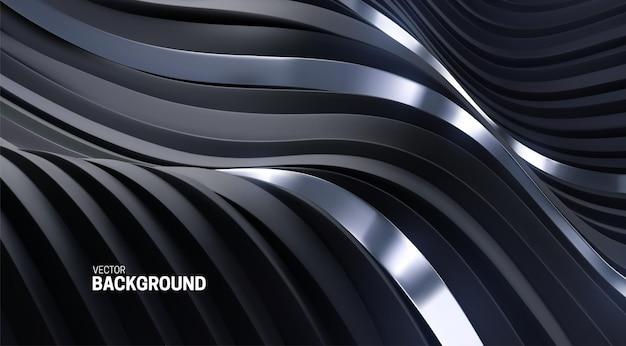 Fundo ondulado abstrato com listras curvas 3d pretas e prateadas