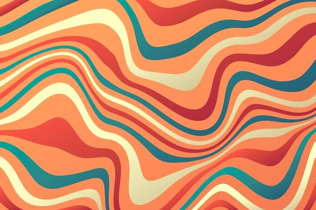 Fundo ondulado colorido desenhado à mão plana