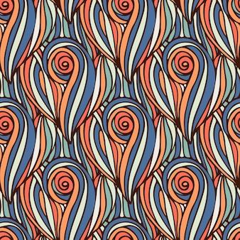 Fundo ondulado colorido. padrão sem costura de ondas desenhadas mão. textura de coloração vetorial.