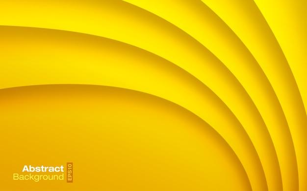 Fundo ondulado de cor amarela brilhante. padrão moderno de cartão de visita. textura de sombra de curva de papel. apresentação contemporânea. ilustração de design de material.