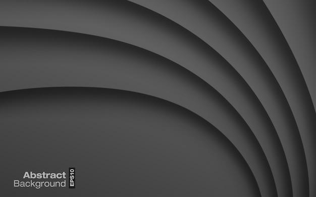 Fundo ondulado de cor brilhante cinza escuro. textura de sombra de curva de papel cinza.