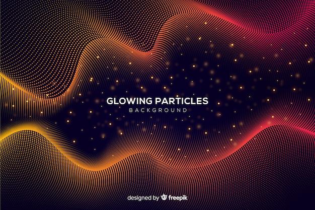 Fundo ondulado de partículas brilhantes