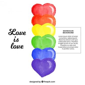 Fundo orgulho com corações coloridos aquarela