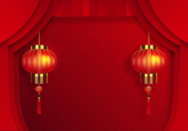Fundo oriental chinês e elementos asiáticos com modelo estampado em ouro