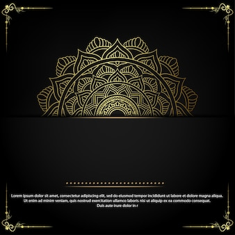 Fundo ornamentado de mandala de ouro de luxo.