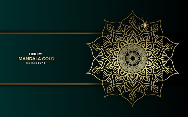Fundo ornamentado de mandala de ouro de luxo