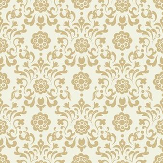 Fundo ornamentado do damasco sem costura vintage. desenho de padrão, decoração retro decorativa, ilustração vetorial