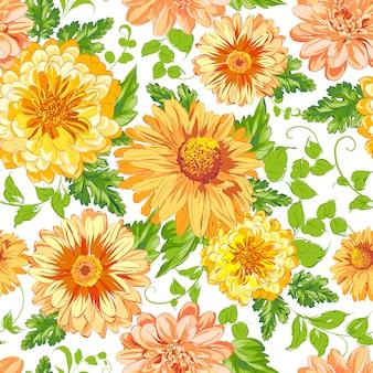Fundo padrão de flores amarelas