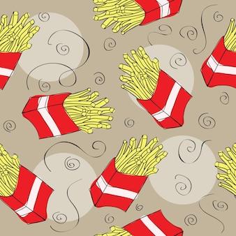 Fundo padrão sem emenda de fast food - ilustração vetorial