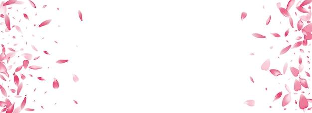 Fundo panorâmico do vetor da pétala de sakura-de-rosa. ilustração de pétala de flor romântica pastel. padrão de pétala de cereja 3d. produto wedding lotus petal.