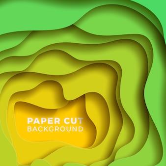 Fundo papercut realista colorido de várias camadas.