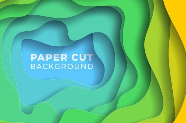 Fundo papercut realista colorido de várias camadas