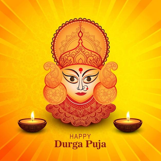 Fundo para cartão de comemoração do feliz durga puja festival
