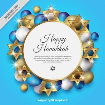 Fundo para hanukkah com estrelas douradas e bolas
